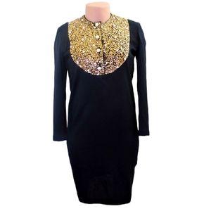 Vintage Outlander black wool  sequin dress Medium